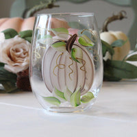 Harvest Pumpkin, Shades of Cream / Tan  Hand-Painted Stemless Wine Glass