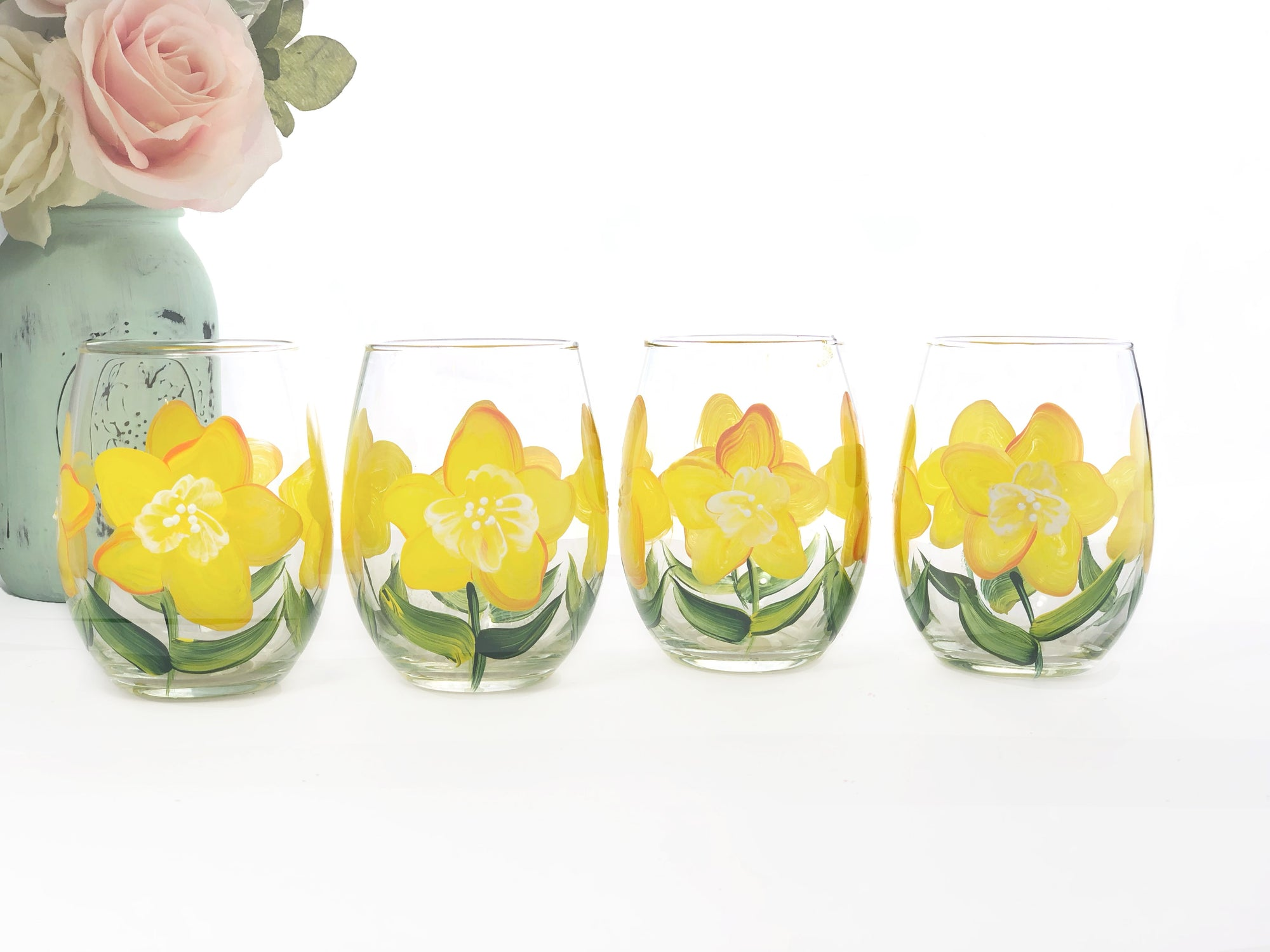 Yellow Daffodil Flower Stemless Wine Glasses- Set of 4 - Hand Painted