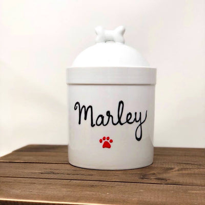 Personalized Pet Treat Jar, Small Customized with Dogs Name