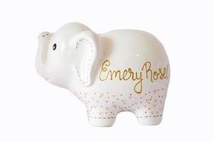Personalized Elephant Piggy Bank with hearts