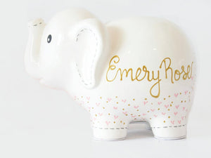 Personalized Elephant Piggy Bank with Hearts, Custom Colors Available