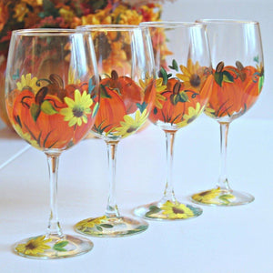 Elegant Hand Painted Fall Pumpkins and Sunflowers 11 oz Stemmed wine Glasses Set of 4, Fall Table Decor, Autumn/ Fall Wine Glasses