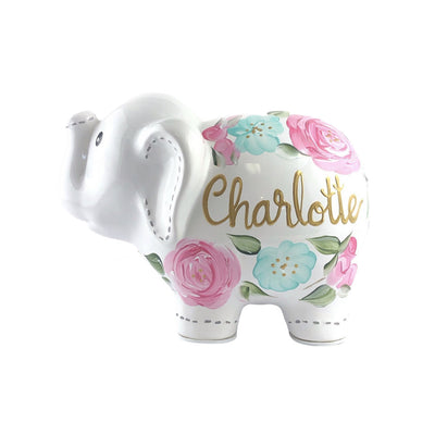 Personalized Elephant Piggy Bank, Floral Baby Girl