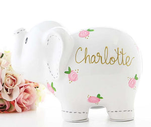 Personalized White Elephant Piggy Bank with Pink Flowers