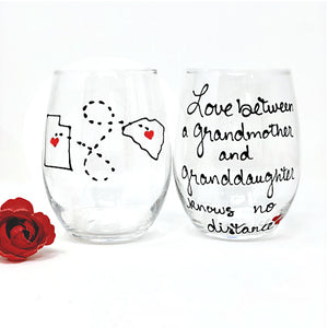 Love Between A Grandmother & Granddaughter Knows No Distance, Hand Painted 21 oz. Stemless Wine Glass