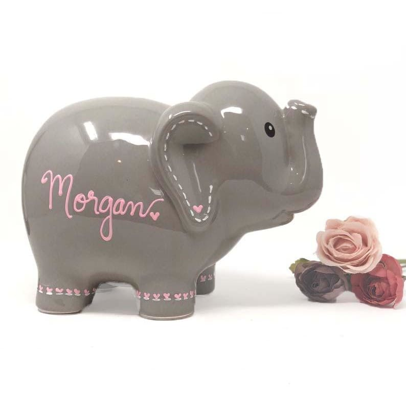 Hand Painted Personalized Gray Elephant Piggy Bank - Girls Piggy Bank - Piggy bank