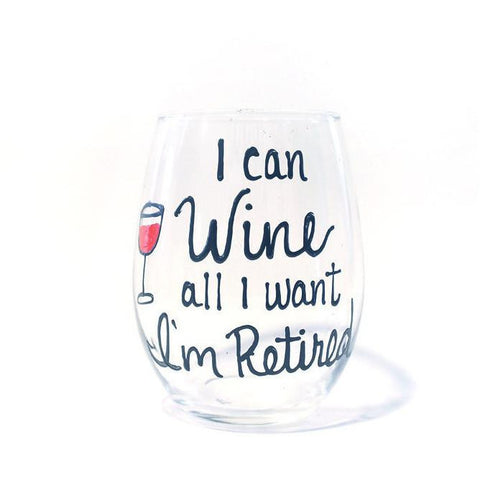 Retirement Wine Glass - Retired Wine Glass- Retired Gifts- Retirement Gifts- Women Funny Retirement Gifts- Hand Painted Wine Glass
