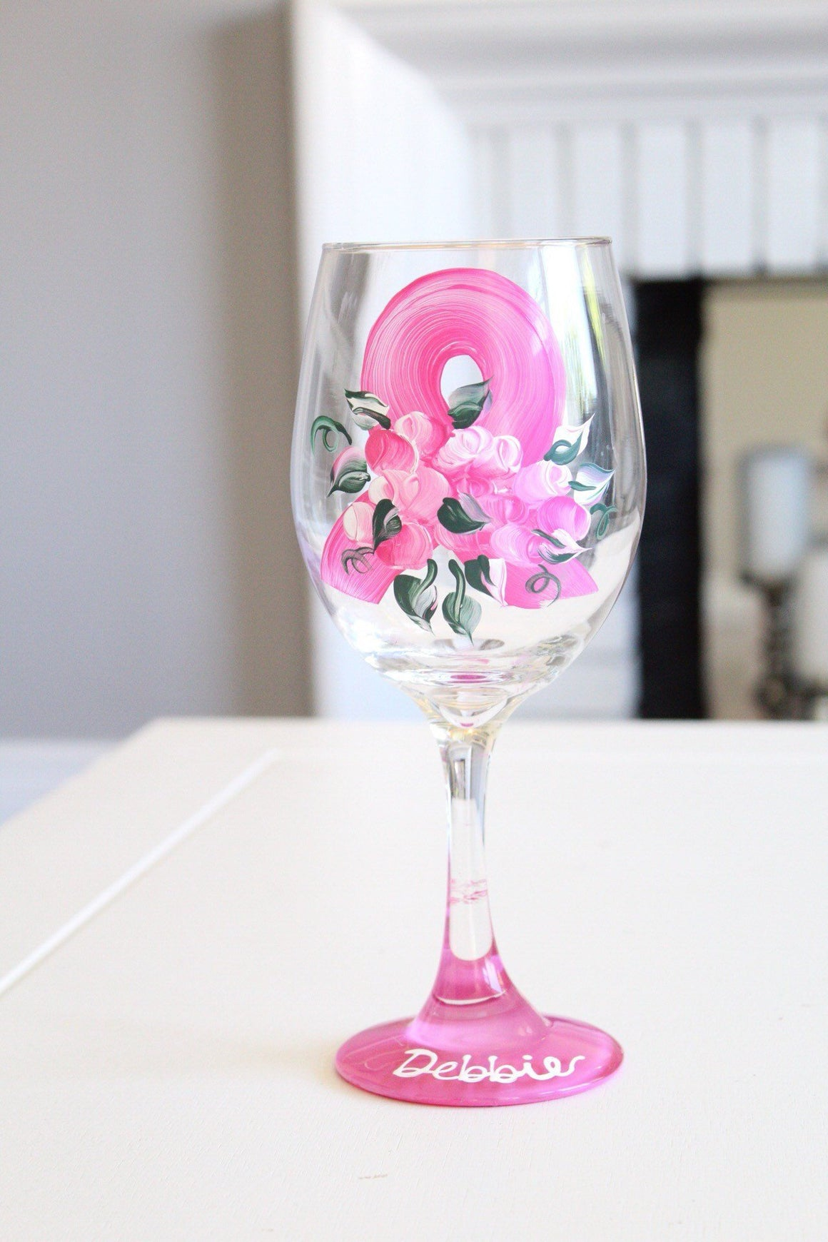 Pink ribbon wine glass- breast cancer survivor wine glass- hand painted wine glass- Survivor wine glass- Support breast cancer- awareness