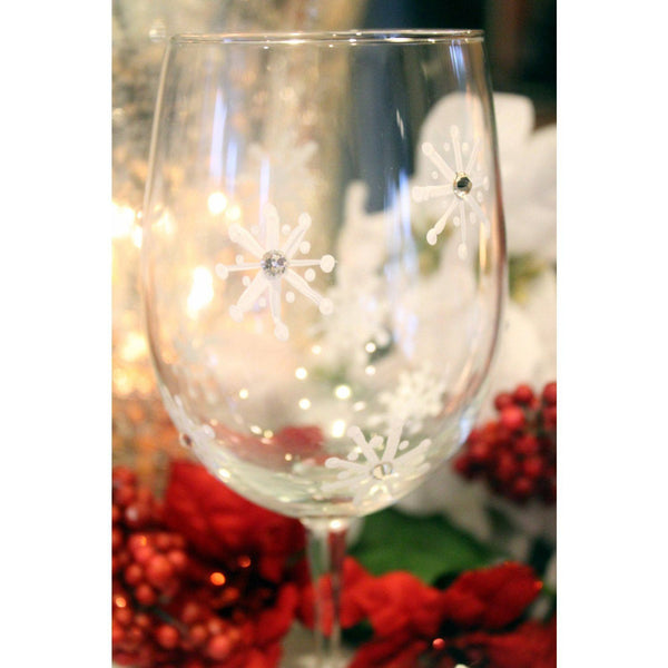 Hand Painted Christmas Wine Glasses- Set of 4