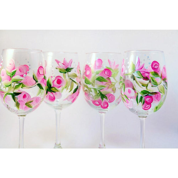 Pink Rose Flower Wine Glass Set of 4, Hand Painted Wine Glasses-Brusheswithaview