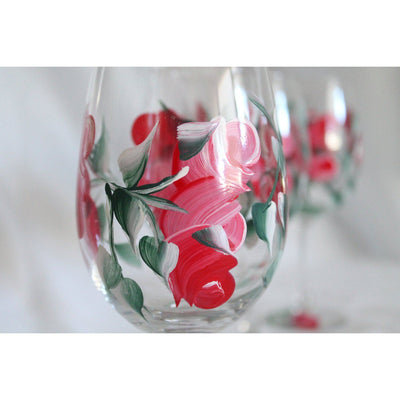 Red Rose Painted Wine Glasses