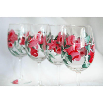 Red rose flower painted wine glass