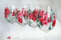 Romantic Valentines Day Gifts for Her, Red Rose Wine Glasses, Gifts for her, Hand Painted Wine Glasses Set of 4