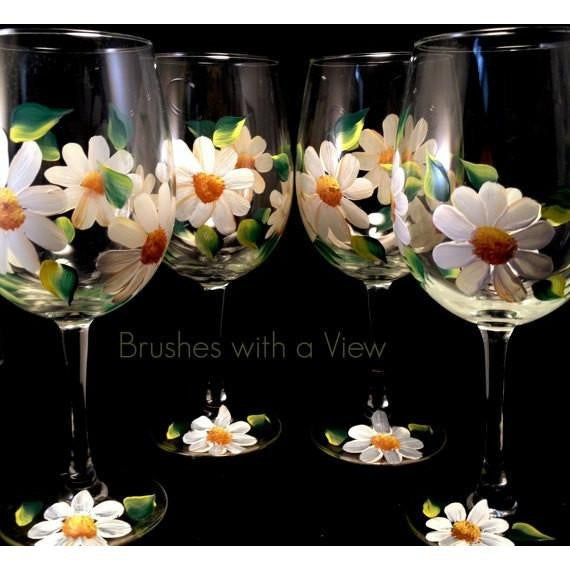 Hand Painted White Daisy FLower Wine Glasses Set of 4-Brusheswithaview