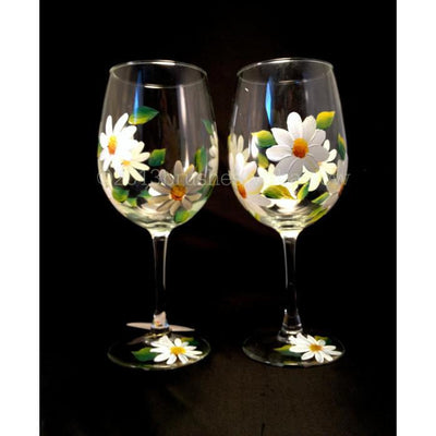Hand Painted White Daisy FLower Wine Glasses Set of 4