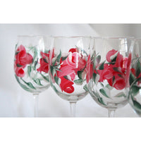 Flower Painted wine glass