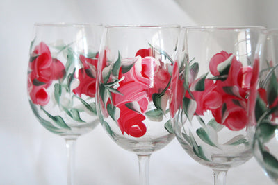 Red Rose Flower Stemmed Wine Glasses Set of 4