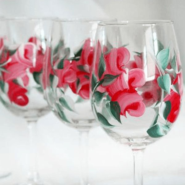 Hand Painted Red Rose Bud Wine Glasses, Set of 4 Stemmed Wine Glasses