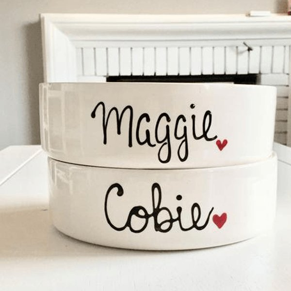 Custom Dog Bowl, Personalized Dog Bowl with Dogs Name-Brusheswithaview