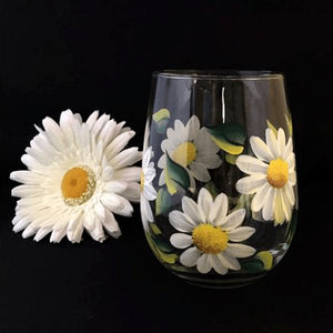 White Daisy Stemless Wine Glass- Hand Painted