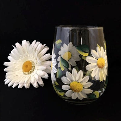 White Daisy Stemless Wine Glass- Hand Painted-Brusheswithaview