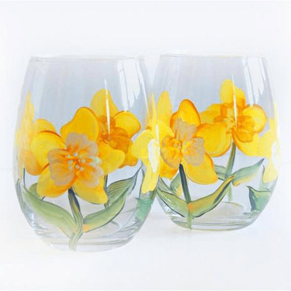 Yellow and White Flowers Daffodils Stemless Wine Glasses - Set of 2