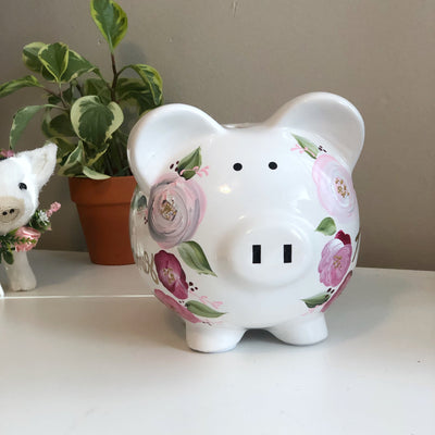 Personalized Bohemian Piggy Bank Pink and Gray  Flowers - Hand Painted Ceramic
