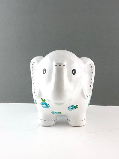 Personalized Elephant Piggy Bank with Teal Blue Flowers