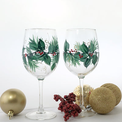 Hand Painted Christmas Wine Glasses -  Winterberry and holly leaves - Set of 2