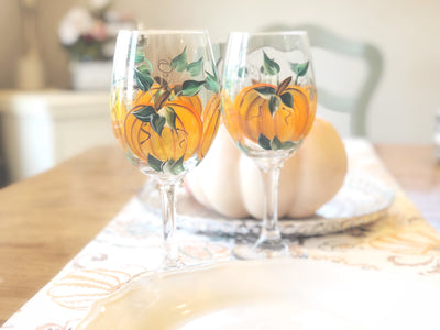 Hand Painted Pumpkin Fall Wine Glass, Set of 2 Wine Glasses -  20 oz Stemmed