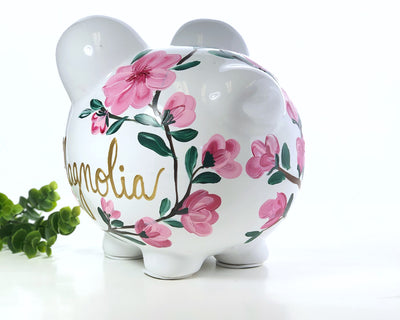 Personalized Pink Flower Piggy Bank, Large Ceramic