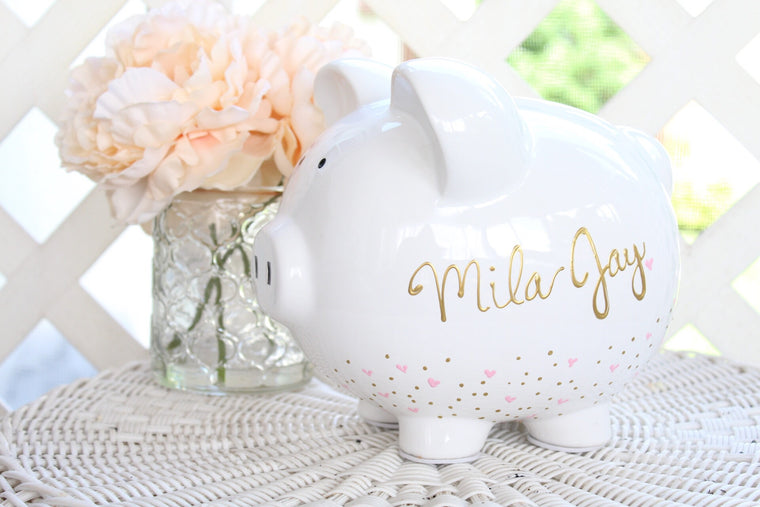 Personalized Piggy Bank for Girls, Large Ceramic Piggy Bank Customized with Name