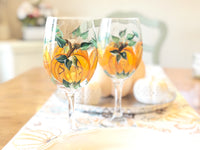 Hand Painted Pumpkin Fall Wine Glass, Set of 2 Wine Glasses
