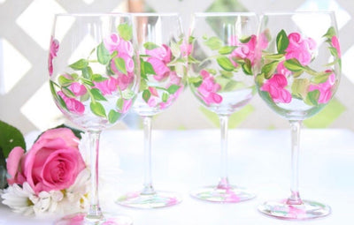 Pink Rose Flower Wine Glass Set of 4, Hand Painted Wine Glasses