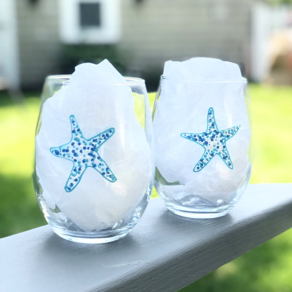 Star Fish Stemless wine glass, set of 2 Beach Themed Hand Painted 21oz