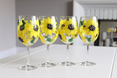 Sunflower Wine Glasses, Set of 4 Hand  Painted