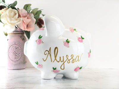 Large Personalized Piggy Bank For Girls - Pink Flowers
