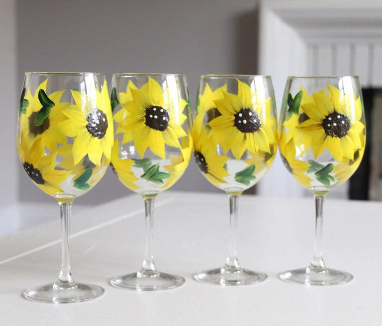 hand painted yellow sunflower wine glasse