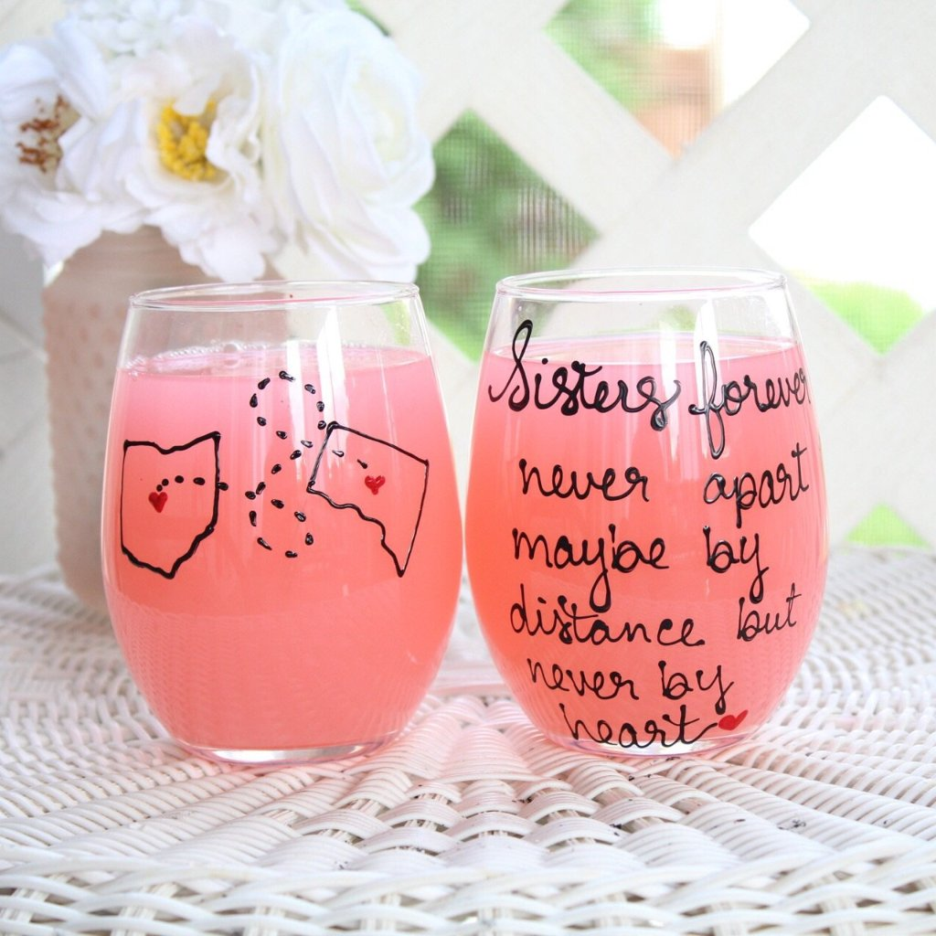 Sister Long Distance Wine Glass, Sister Moving Away Gift, Hand Painted Stemmed or Stemless Wine Glass