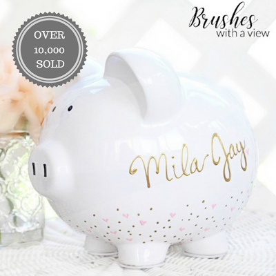 Personalized Hand Painted Piggy Bank with gold and pink hearts