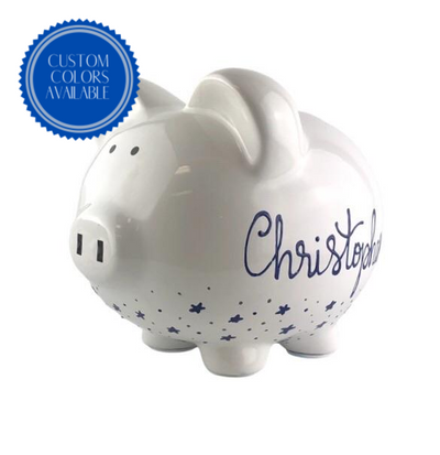 Personalized Hand Painted Piggy Bank with Navy Stars - Brushes with a View