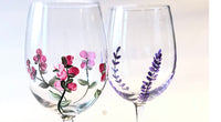 pink rose bud wine glasses
