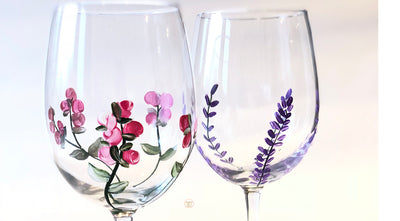 Hand Painted Lavender Stemmed Wine Glasses Set of 2 Purple Lavender Flower and Pink Rose buds