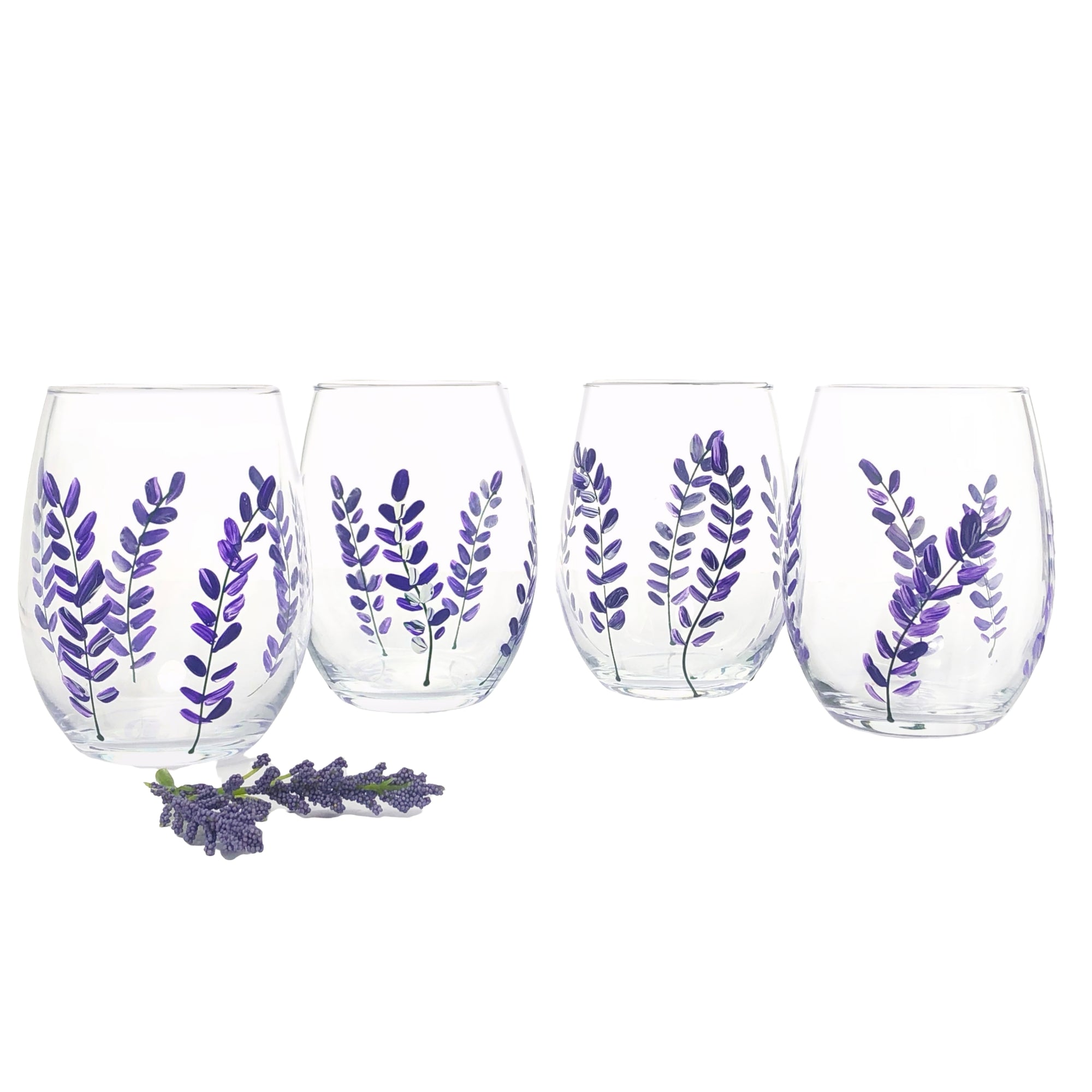 Lavender flower Stemless Wine Glasses -  Set of 4 - Hand Painted