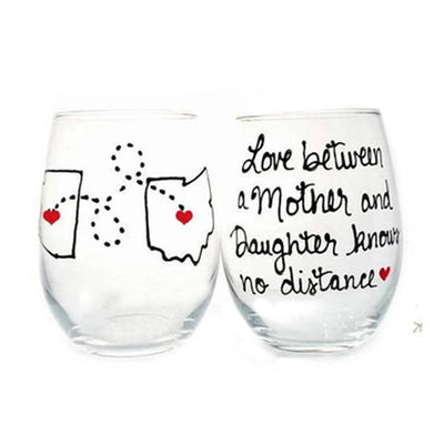 Mother Daughter Long Distance Quotes - Painted Wine Glass