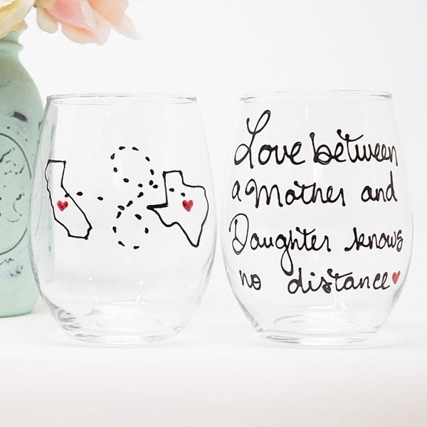 Love between Mother and Daughter knows no distance, Hand Painted, Stemless 21 oz. Wine Glass