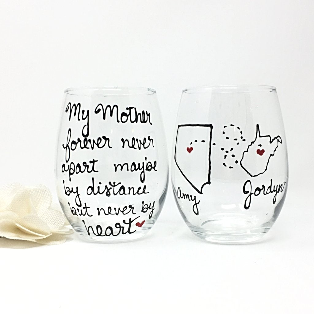 My mother forever never part,  Hand Painted, Stemless 21 oz. Wine Glass