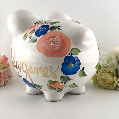 Personalized Piggy Bank for Baby Girl |  Peach and Navy Flowers