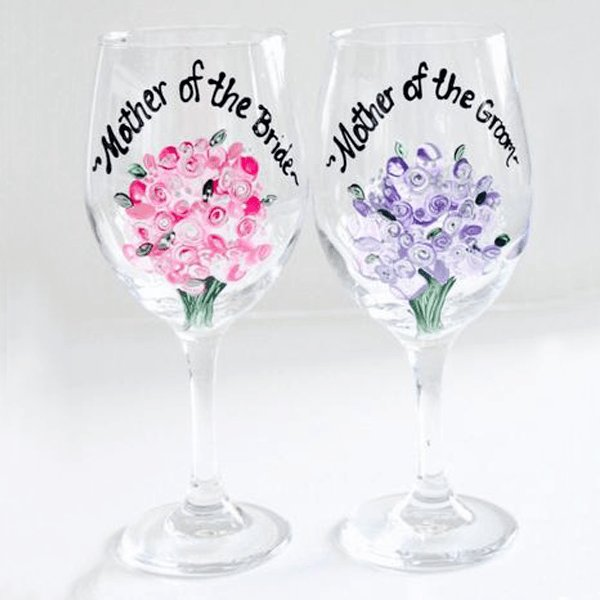 Personalized Mother of the Bride or Groom Wine Glass-Brusheswithaview