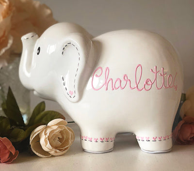 Personalized White Elephant Piggy Bank personalized with name
